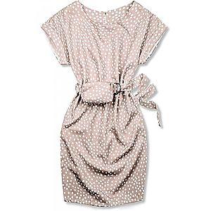 Butikmoda Rózsaszínű pöttyös ruha, derekán övtáskával kép