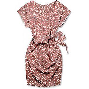 Butikmoda Vintage rózsaszínű pöttyös ruha, derekán övtáskával kép