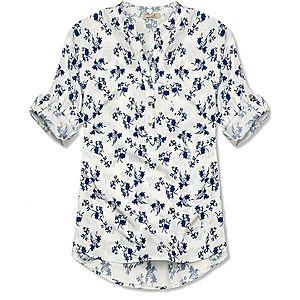 Butikmoda Fehér és kék színű virágmintás ing kép