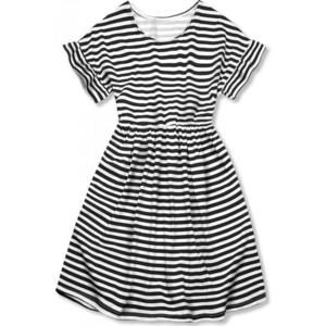 Butikmoda Fekete és fehér színű, bő szabású csíkos ruha II. kép