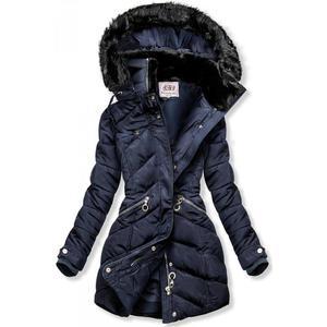 Butikmoda Kék színű téli kabát, meleg plüss gallérral kép