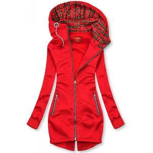 Butikmoda Piros színű hosszított felső kockás kapucnival kép