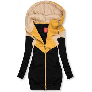 Butikmoda Hosszított felső - fekete, sárga és bézs színű kép