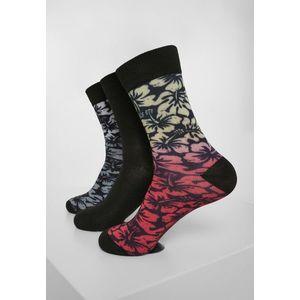 Urban Classics Flower Socks 3-Pack black/grey/red kép