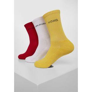 Urban Classics Wording Socks 3-Pack yellow/red/white kép