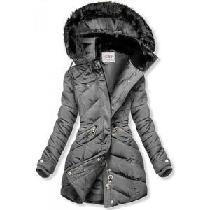 Butikmoda Szürke színű téli kabát, meleg plüss gallérral kép