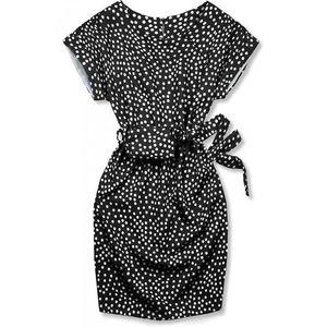 Butikmoda Fekete színű pöttyös ruha, derekán övtáskával kép