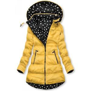 Butikmoda Sárga színű/pöttyös kifordítható kabát kép