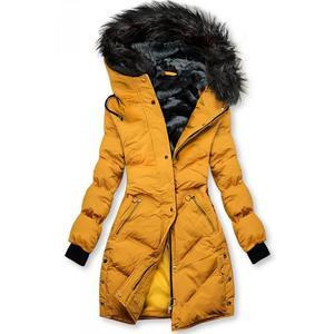 Butikmoda Sárga színű, téli steppelt kabát kép