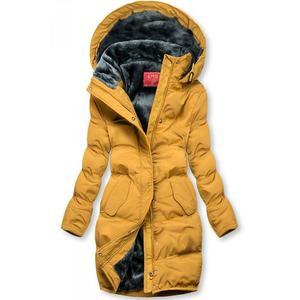 Butikmoda Sárga színű téli kabát plüss béléssel kép