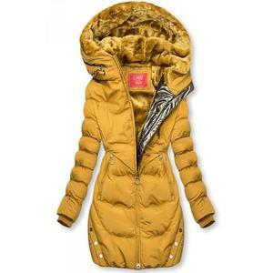 Butikmoda Sárga színű téli kabát ezüstszürke színű szegéllyel kép