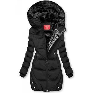 Butikmoda Fekete színű téli kabát ezüstszürke színű szegéllyel kép
