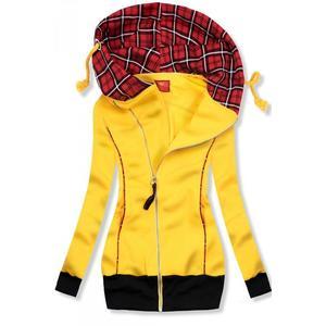 Butikmoda Sárga színű felső kockás kapucnival kép