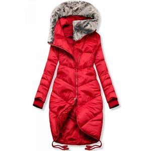 Butikmoda Piros színű téli hosszított kabát kép