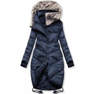 Butikmoda Sötétkék színű téli hosszított kabát kép