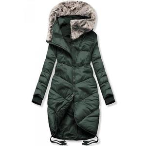 Butikmoda Zöld színű téli hosszított kabát kép
