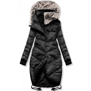 Butikmoda Fekete színű téli hosszított kabát kép