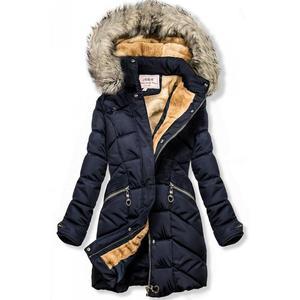 Butikmoda Kék színű téli kabát, levehető kapucnival kép