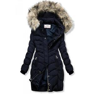 Butikmoda Kék színű steppelt kabát műszőrmével kép