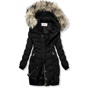Butikmoda Fekete színű steppelt kabát műszőrmével kép