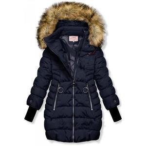 Butikmoda Sötétkék színű téli kabát hosszított ujjakkal kép