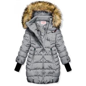 Butikmoda Szürke színű téli kabát hosszított ujjakkal kép