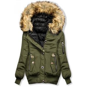 Butikmoda Khaki színű, téli kifordítható bomberdzseki kép