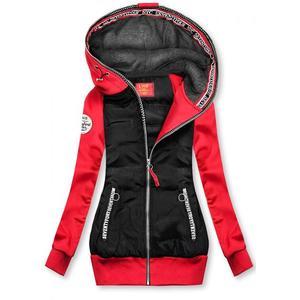 Butikmoda Fekete és piros színű kombinált sportos felső kép