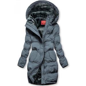 Butikmoda Szürke színű téli kabát plüss béléssel kép