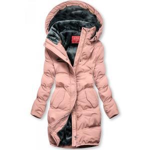 Butikmoda Rózsaszínű téli kabát plüss béléssel kép