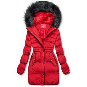 Butikmoda Piros színű téli kabát, derekán behúzással kép