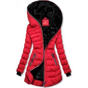 Butikmoda Téli steppelt kabát kapucnival - piros színű kép