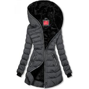 Butikmoda Téli steppelt kabát kapucnival - sötét szürke színű kép