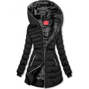 Butikmoda Téli steppelt kabát kapucnival - fekete színű kép