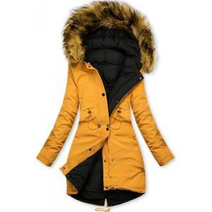 Butikmoda Sárga és fekete színű kifordítható téli kabát kép