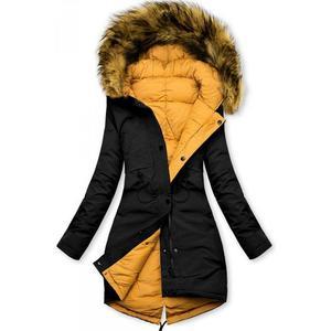 Butikmoda Fekete és sárga színű kifordítható téli kabát kép