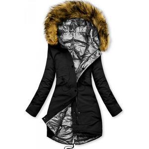 Butikmoda Fekete és ezüstszürke színű kifordítható téli kabát kép