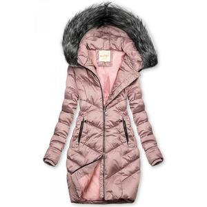 Butikmoda Lila színű steppelt téli kabát kép