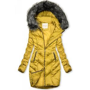 Butikmoda Mustársárga színű steppelt téli kabát kép
