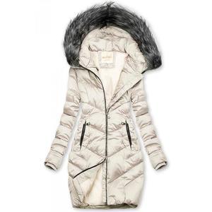 Butikmoda Krémszínű steppelt téli kabát kép