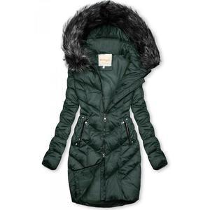 Butikmoda Zöld színű steppelt téli kabát kép