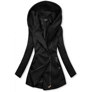 Butikmoda Fekete színű kabát műbőr elemekkel kép