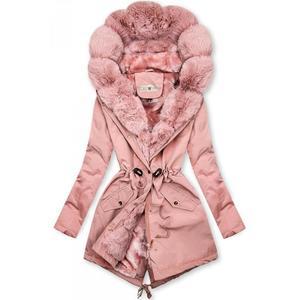 Butikmoda Rózsaszínű téli parka műszőrme szegéllyel kép