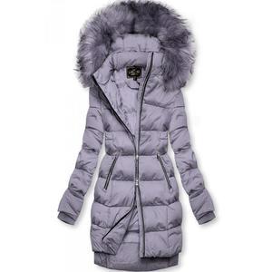 Butikmoda Lila színű téli kabát cipzárral kép