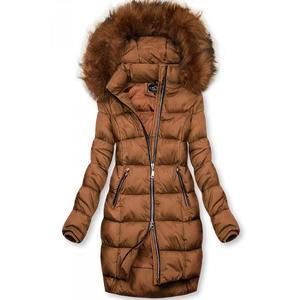 Butikmoda Barna színű téli kabát cipzárral kép