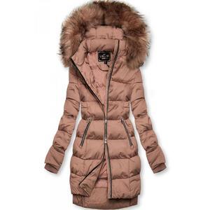 Butikmoda Vintage-rózsaszínű téli kabát cipzárral kép