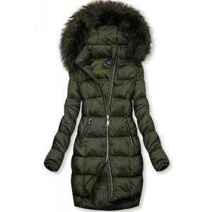 Butikmoda Khaki színű téli kabát cipzárral kép