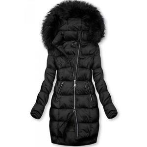 Butikmoda Fekete színű téli kabát cipzárral kép