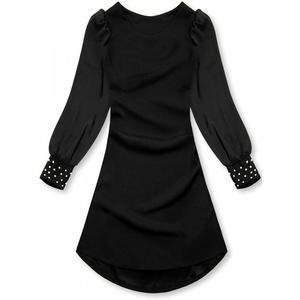 Butikmoda Fekete színű elegáns A-vonalú ruha kép
