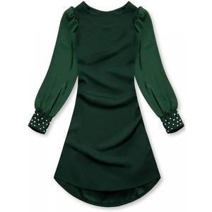 Butikmoda Zöld színű elegáns A-vonalú ruha kép